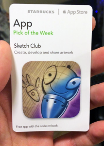 sketch club starbucks pick of the week card